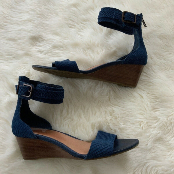 Navy Blue Wedge Sandals Ankle Strap